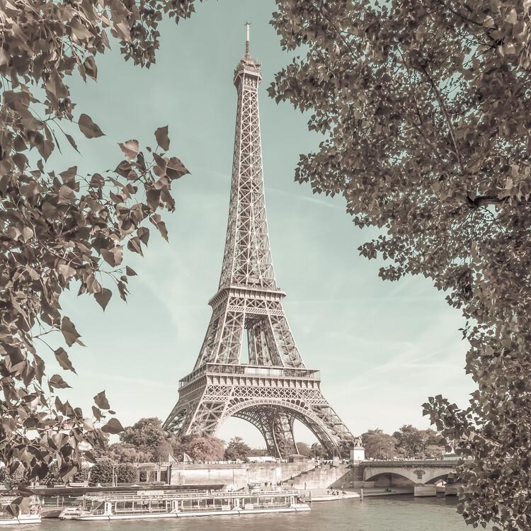 Art Photography PARIS Eiffel Tower & River Seine   urban vintage style