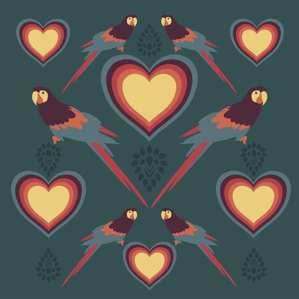 Fine Art Print Parrot Love