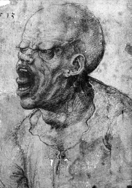 Fine Art Print Portrait of a Man Shouting (charcoal on paper)