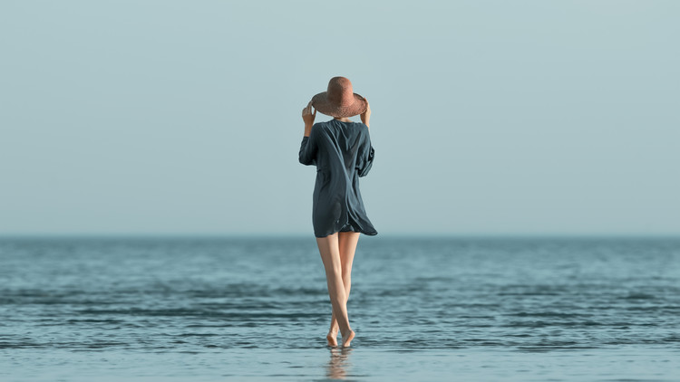 Art Photography Portrait of girl at sea Summer