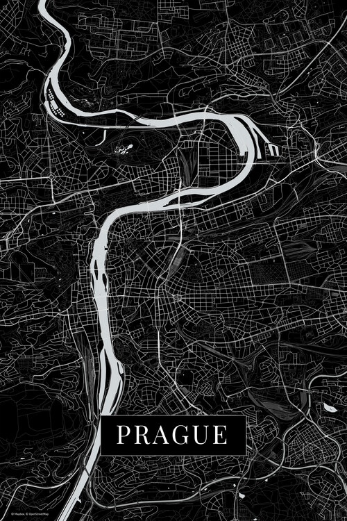 Map Prague black
