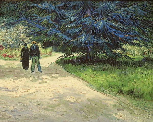 Fine Art Print Public Garden with Couple and Blue Fir Tree: The Poet's Garden III