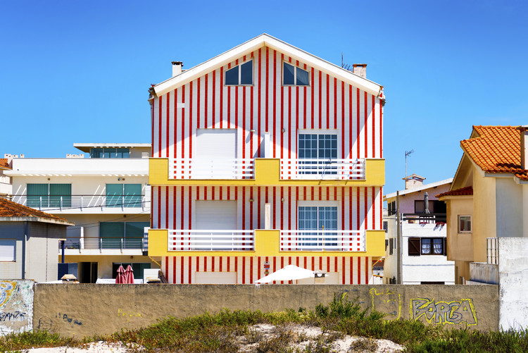 Art Photography Red Striped House