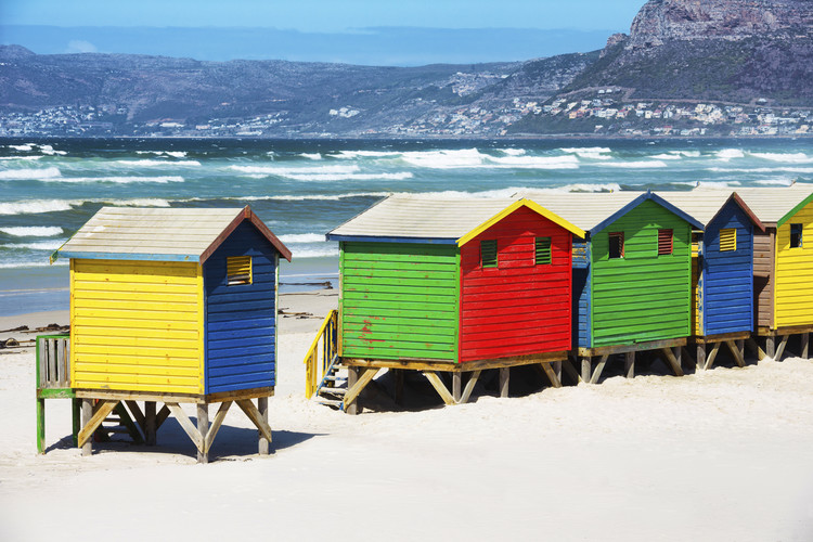 Art Photography Row of Beach Houses on Beach