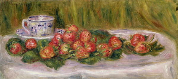 Fine Art Print Still Life of Strawberries and a Tea-cup, c.1905