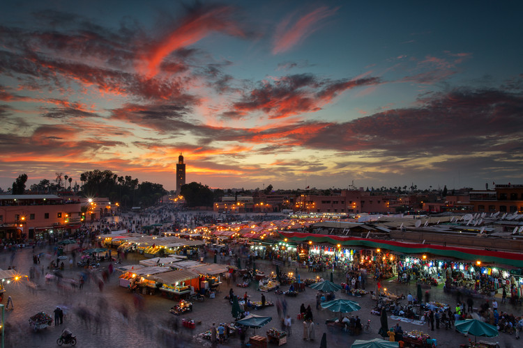 Art Photography Sunset over Jemaa Le Fnaa Square in Marrakech, Morocco