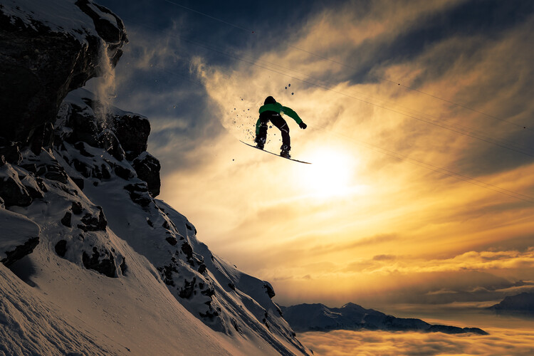 Art Photography Sunset Snowboarding