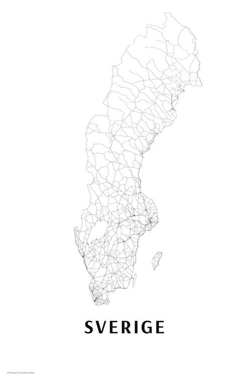 Map Sweden black & white