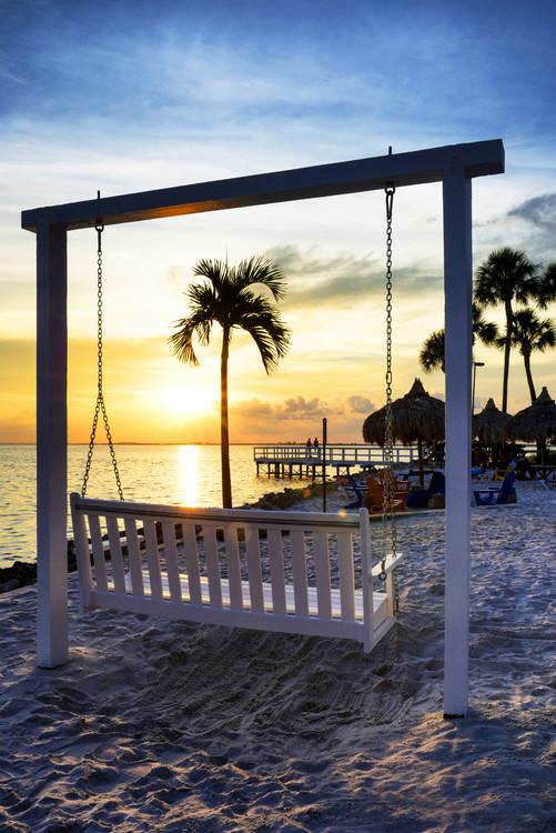 Art Photography Swing Beach at Sunset
