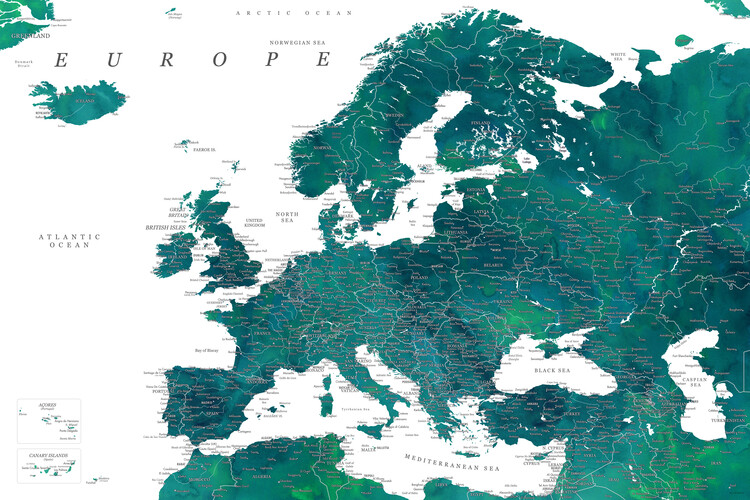 Map Teal detailed map of Europe in watercolor