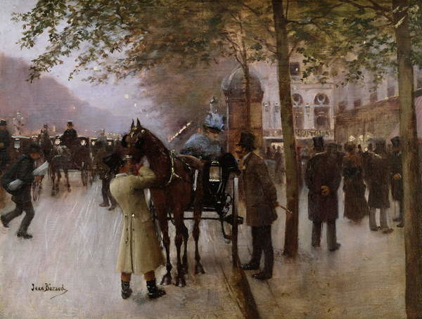 Fine Art Print The Boulevards, Evening in Front of the Cafe Napolitain, late 19th century