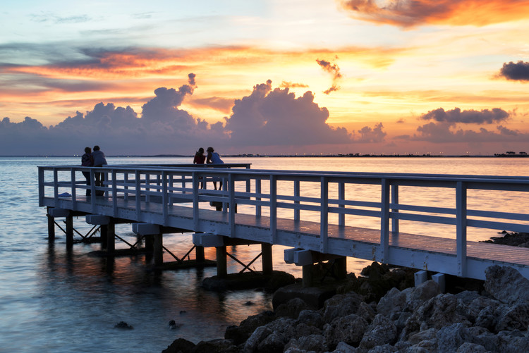 Art Photography The Pier at Sunset Lovers