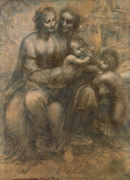 Fine Art Print The Virgin and Child with Saint Anne, and the Infant Saint John the Baptist