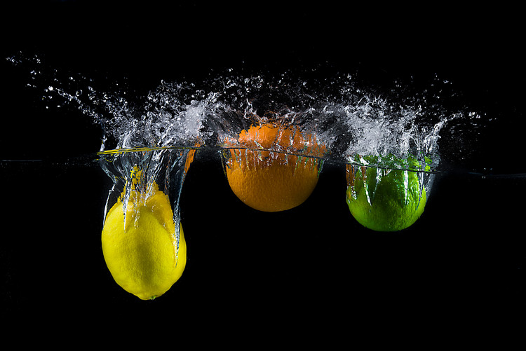 Art Photography Triple citrus splash