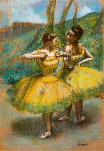 Fine Art Print Two dancers in yellow. Around 1896. Pastel and charcoal on two strips of paper.