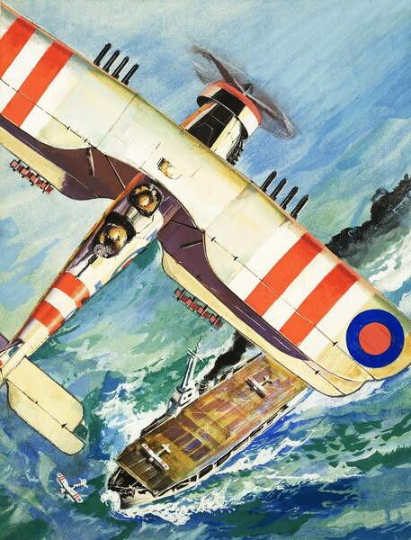 Fine Art Print Unidentified bi-plane flying over an aircraft carrier