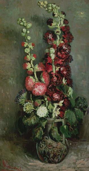 Fine Art Print Vase of Hollyhocks, 1886
