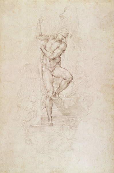 Fine Art Print W.53r The Risen Christ, study for the fresco of The Last Judgement in the Sistine Chapel, Vatican