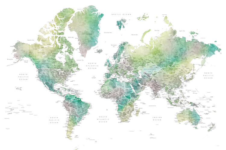 Map Watercolor world map with cities in muted green, Oriole