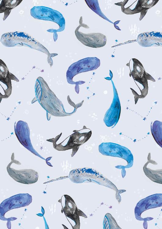 Illustration Watercolour dreamy whales