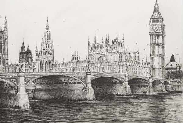 Fine Art Print Westminster Bridge London, 2006,