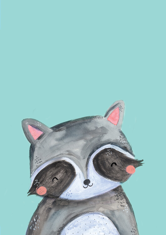 Illustration Woodland racoon on mint