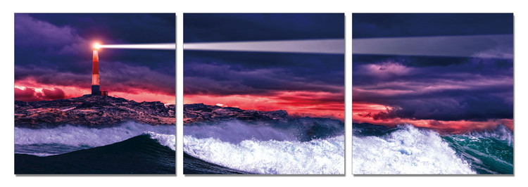 Arte moderna Lighthouse in the night tide