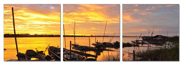 Arte moderna Sunset in the harbor boat