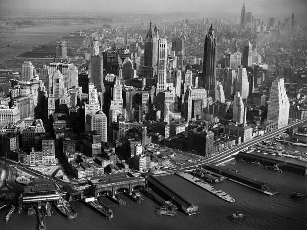 Impressão artística Areal view of Manhattan New York 1956
