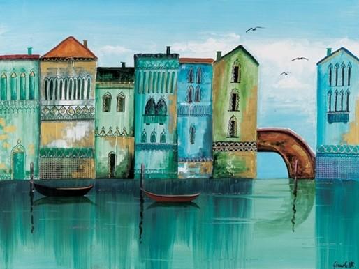 Impressão artística Blue Venice