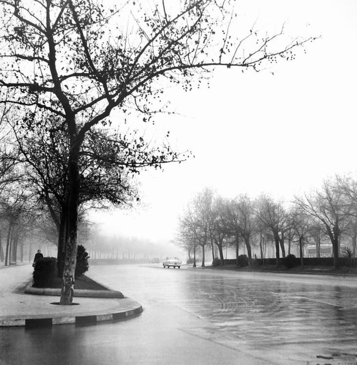 Impressão artística Castellana Avenue,Madrid 1953