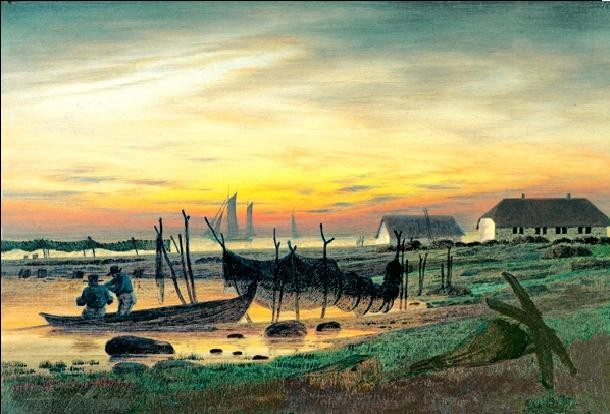 Impressão artística Coastal Landscape in Twilight, 1818