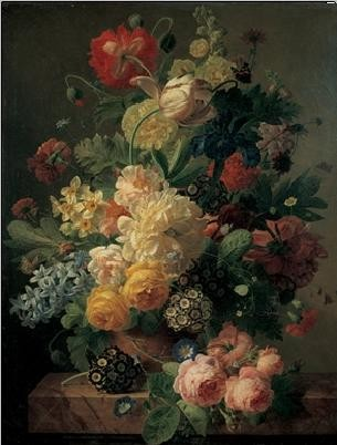 Impressão artística Flowers in a vase on a marble console table, 1816