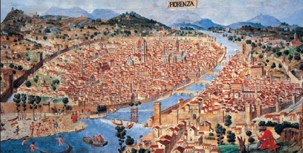 Impressão artística Map of Florence, 1470