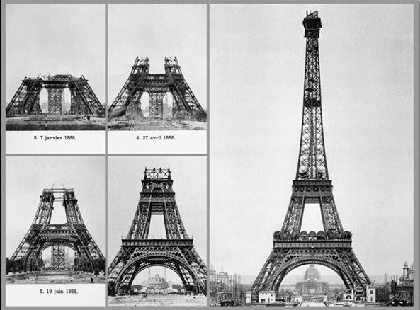 Impressão artística Paris - Construction of Eiffel tower