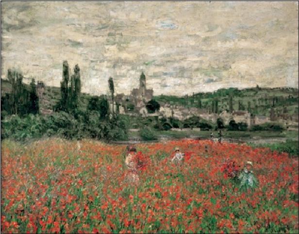 Impressão artística Poppy Field Near Vetheuil