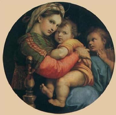 Impressão artística Raphael Sanzio - Madonna della seggiola, 1514