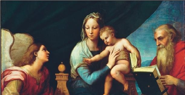 Impressão artística Raphael Sanzio - Madonna of the Fish - Madonna with the Fish, 1514 (part)