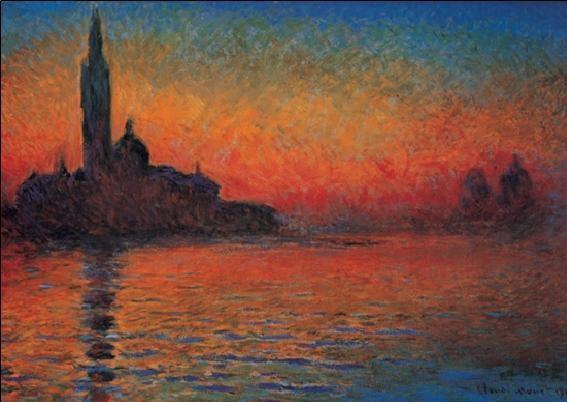 Impressão artística San Giorgio Maggiore at Dusk - Dusk in Venice (Sunset in Venice, Venice Twilight)