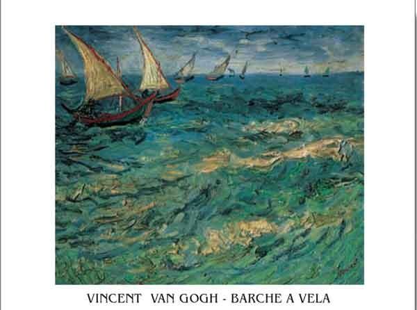 Impressão artística Seascape at Saintes-Maries - Fishing Boats at Sea, 1888