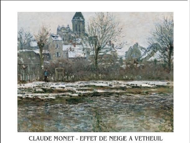 Impressão artística The Church at Vetheuil under Snow, 1878