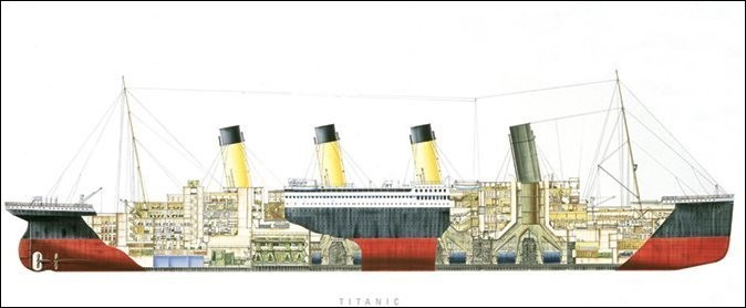 Impressão artística Titanic - Cutaway