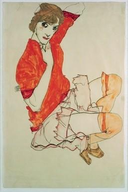 Impressão artística Wally in Red Blouse, 1913