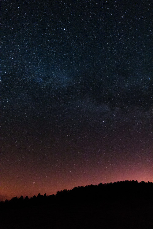 Arte Fotográfica Exclusiva Night photos of the Milky Way with stars and trees.