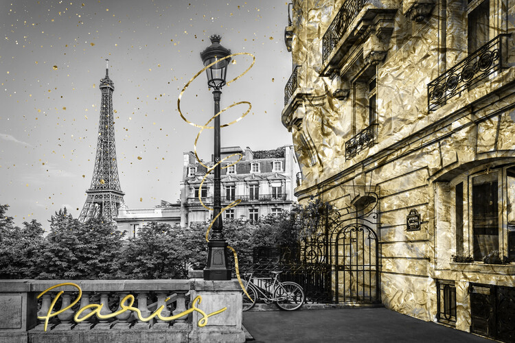Arte Fotográfica Exclusiva Parisian Charm | golden