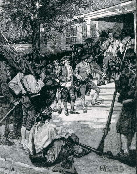 Reprodução do quadro Shays's Mob in Possession of a Courthouse, illustration from 'The Birth of a Nation' by Thomas Wentworth Higginson, pub. in Harper's Magazine, January 1884