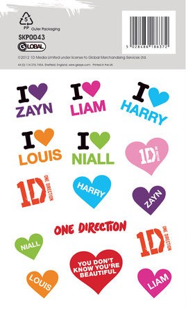 Autocolantes ONE DIRECTION - stars with glitter
