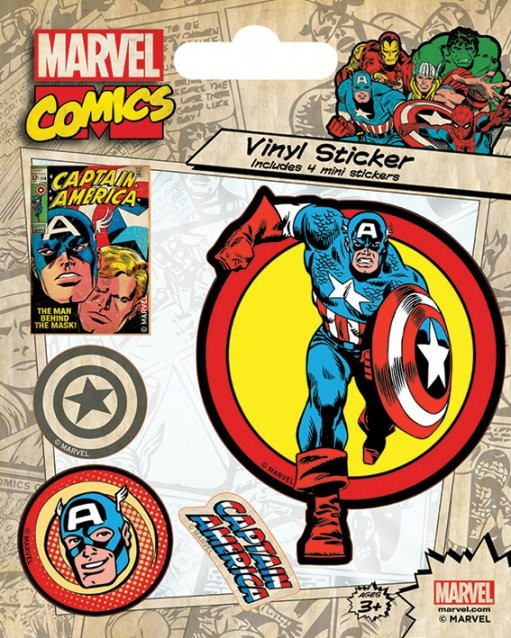 Marvel Comics - Captain America Retro Autocollant