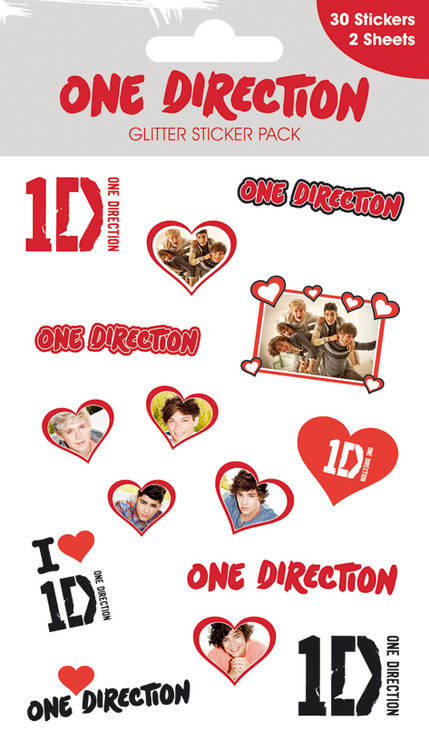 ONE DIRECTION - hearts with glitter Autocollant