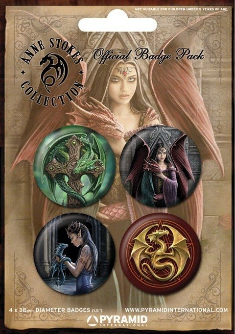 ANNE STOKES - dragons Badges